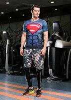 Guangzhou Chine En Gros Beau Modèle Super-Héros Superman T-shirt Mâle Crossfit Camisetas Manches Courtes Musculation T-Shirt