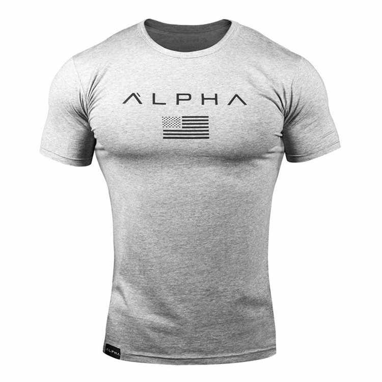 ALPHA 2019 New Brand Clothing Gyms Tight T-shirt Mens Fitness T-shirt Homme Gyms T Shirt Men Fitness  Summer Top Tees