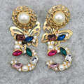 Famous Brand Baroque Colorful Crystal Number Cubic Zircon Gold Plated Butterfly Earrings Fashion Jewelry 533