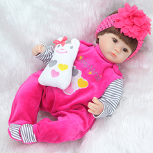 RealTouch 17 42cm Silicone Worships Lifelike Bonecas Newborn Baby Realistic Magnetic Baby Pacifier Reborn Baby Dolls