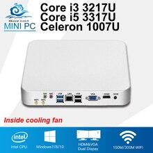 Вентилятор охлаждения Мини-ПК Intel Core i5 3317U i3 3217U Celeron 1037U Окна 10 компьютер Linux мини HD Графика офисные 4400 Desktop