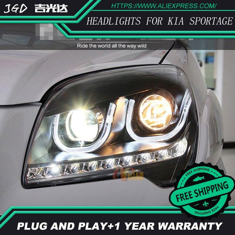 Глава стайлинга автомобилей Лампа чехол для Kia Sportage на 2007-2013 фара СИД Спортейдж светодиодные фары DRL запасной вариант глаза Ангела би ксенон