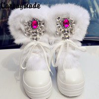 Careaymade 2018 Hot sale 2color Snow Boots Diamond gem rabbit hair female boots woman's boots