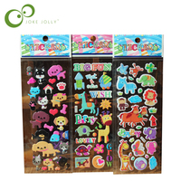 5pcs/lot Fashion Brand Kids Toys Cartoon Cute Animals Zoo 3D Stickers Children girls boys PVC Stickers Bubble Stickers YYY