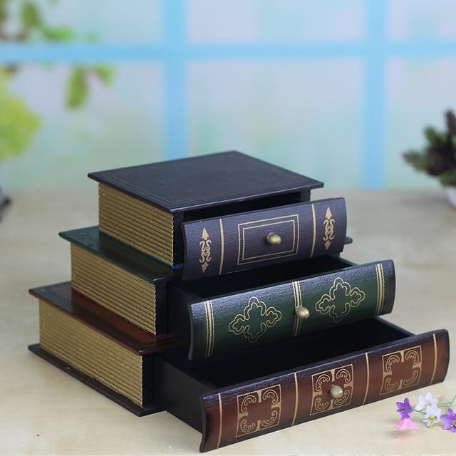 Joyero Vintage de tres capas superpuesta tipo libro, artesanías de madera, caja de acabado de escritorio, caja de almacenamiento de cosméticos, decoración del hogar