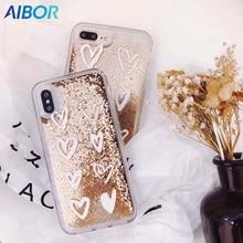 Lüks Sevimli Aşk Kalp Altın Boncuk Bling Glitter Dinamik Sıvı Quicksand Telefon iphone kılıfları X XS XR MAX 5 5 S SE 6 6 S 7 8 ...