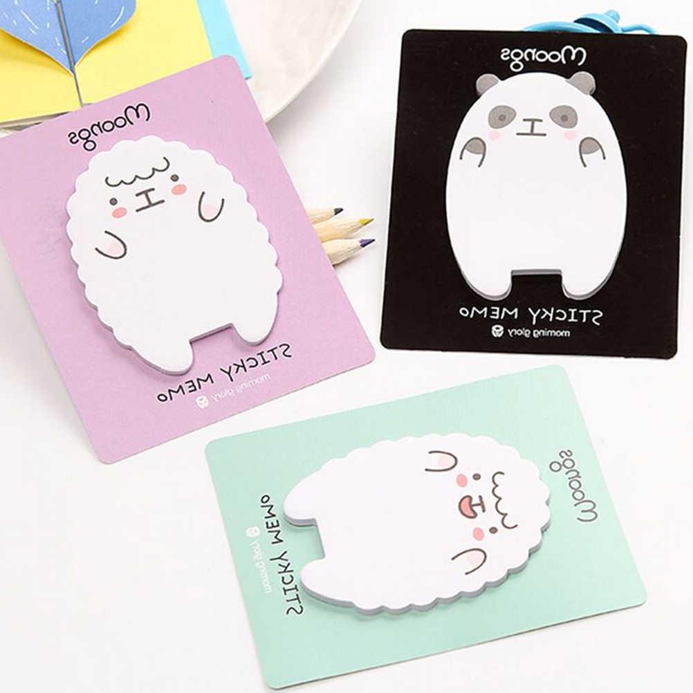 1 folha bonito ovelha panda bloco de memorando notas pegajosas bloco de notas escola material de escritório papelaria papelaria presente escolar
