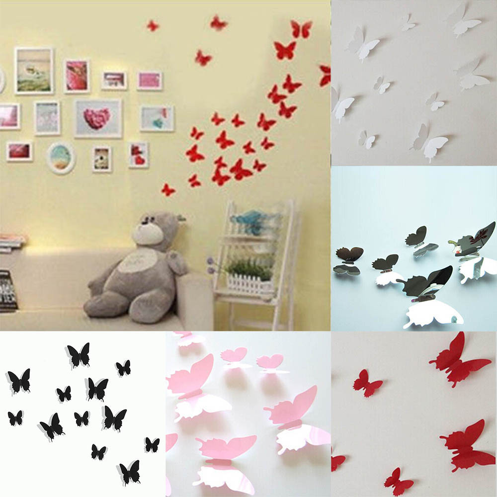 12PCS Kit 3D DIY Wall Sticker Stickers PVC Butterfly Modern Hoom Room Decorations New ...