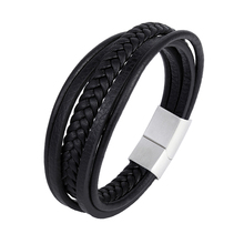 men's charm stainless steel leather bracelet punk band fashionable multi-layered braided magnetic clasp gift bracelet