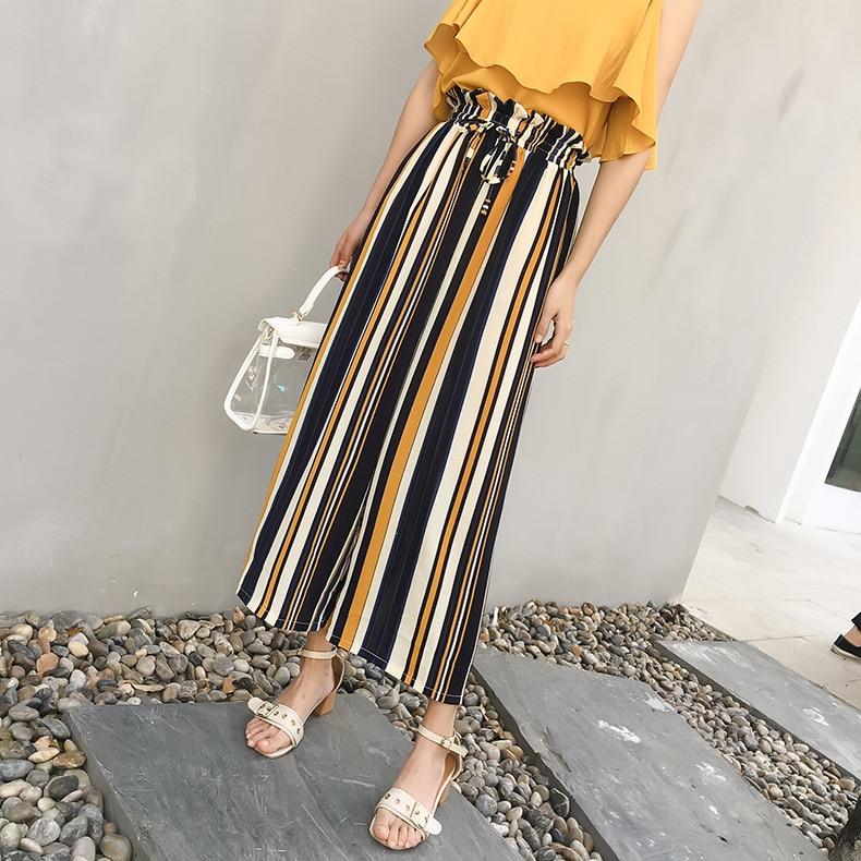Chiffon   wide     leg     pants   female summer high waist 2018 spring Bohemian   pant   thin section nine points   pants   beach   wide     leg     pants