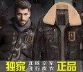 M-3xl del nuevo! hombres de pilotos de la fuerza aérea marca de ropa chaquetas de piel de vaca corto párrafo vendimia de locomotoras genuino chaqueta de cuero