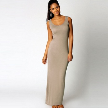 O-Neck Sleeveless Slim Maxi Dress High Stretch 1