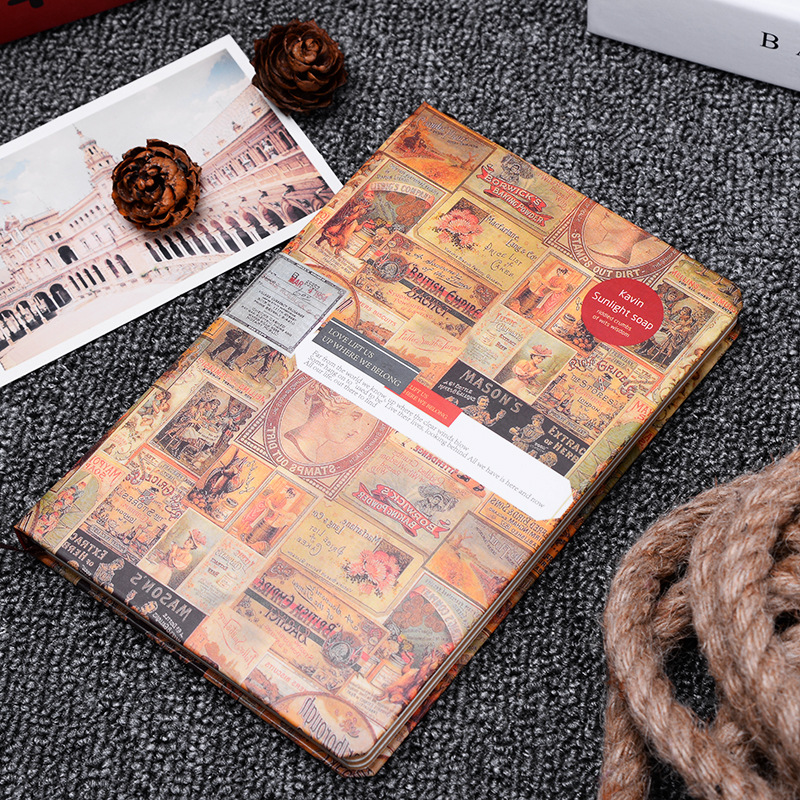 2017 European Fashion Retro Color Diary Hardcover Notebook Student Gift Illustration Kraft Paper  Travelers Notebook 365 day thick hardcover personal diary
