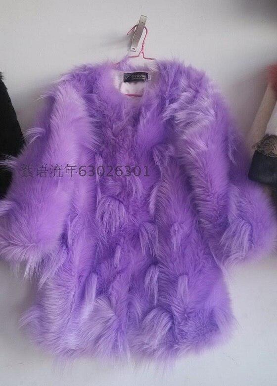 Шуба из лисьего меха пальто средней длины с цветным блочным украшением верхняя одежда из искусственного меха - Цвет: purple