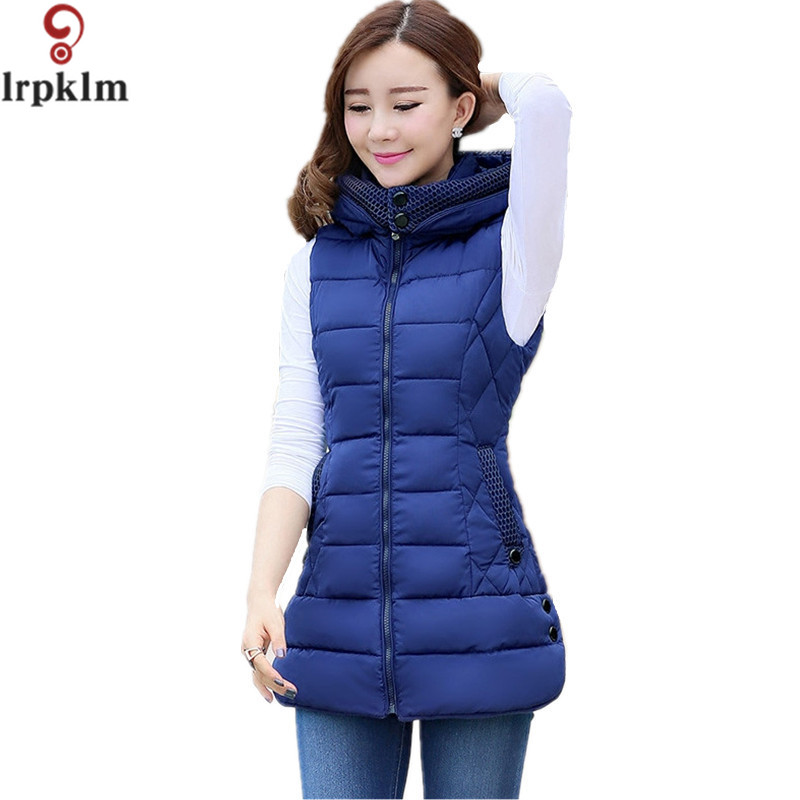 M-4XL 2017 New Brand Spring Autumn Slim Women Vest Jacket Warm Cotton Hooded Winter Plus Size L-4XL Waistcoat female LZ236