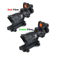 Tactical Riflescope Hunting Rifle Scope Optic Sight ACOG 4X32 Airsoft Scopes Real Green Red Fiber Sight