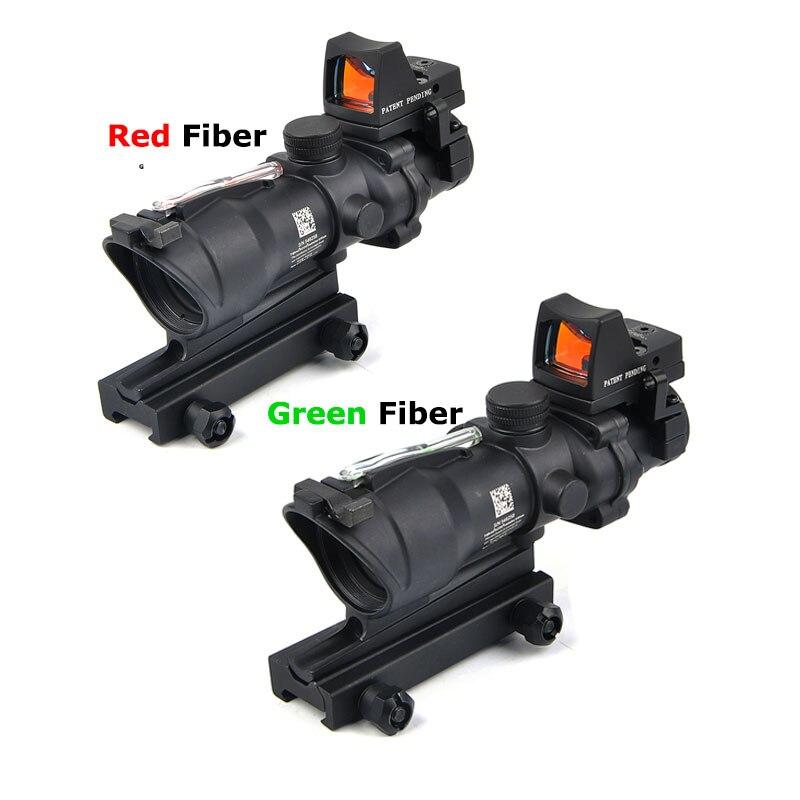 Lunette de visée tactique lunette de chasse lunette de visée optique ACOG 4X32 lunettes Airsoft réel vert rouge Fiber de vue pour fusil de Sniper Caza