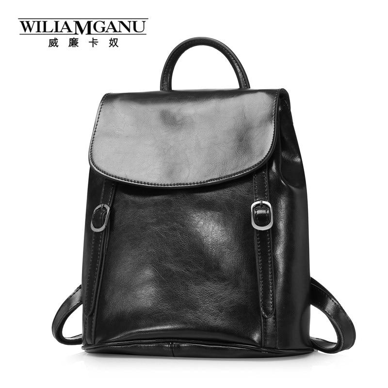 1a6fbd81bb7d Wiliamganu cera de aceite vintage Cuero auténtico mochilas mujeres viaje  mochila para adolescentes bolsas de hombro Brown negro