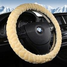 KKYSYELVA Warm Fur Black Car steering wheel cover Winter Interior Accessories Auto Plush Steering-wheels Styling