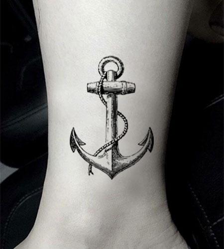 Waterproof Temporary Fake Tattoo Stickers Grey Anchor Ship Design Body Art Make Up Tools