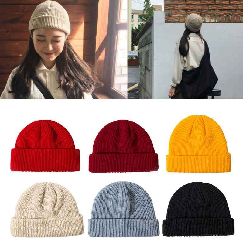 New Women Unisex Winter Knitted Cuffed Short Melon Cap Solid Color Skullcap Baggy Retro Ski Fisherman Docker Beanie Hat Slouchy