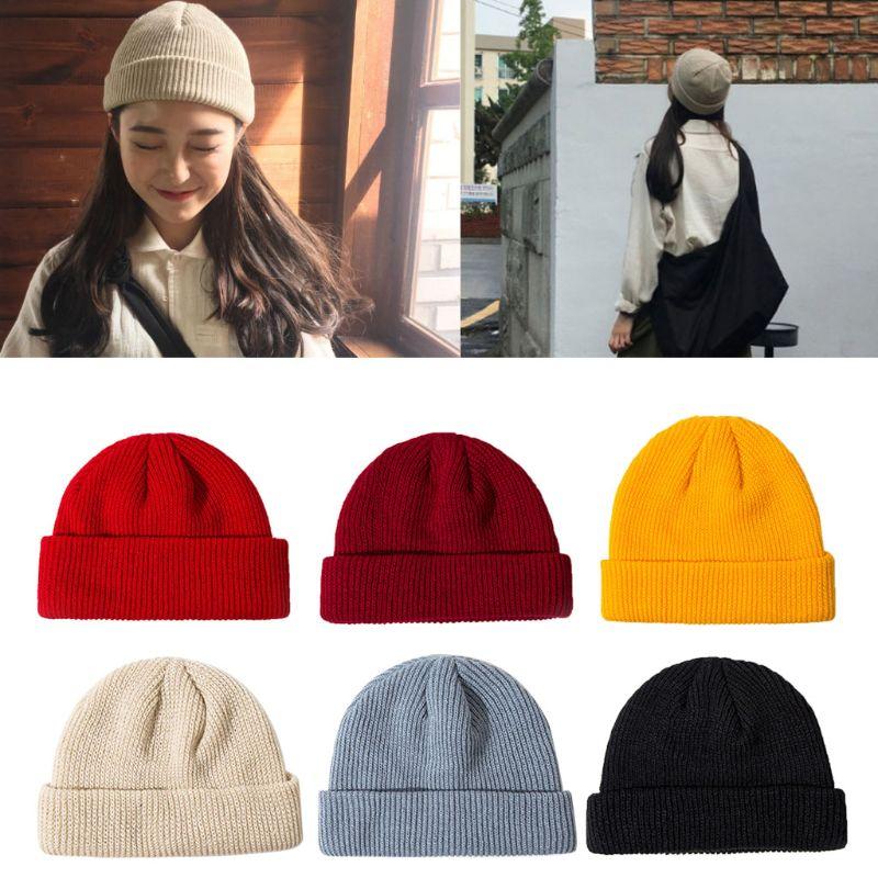 New Women Unisex Winter Knitted Cuffed Short Melon Cap Solid Color Skullcap Baggy Retro Ski Fisherman Docker Beanie Hat Slouchy