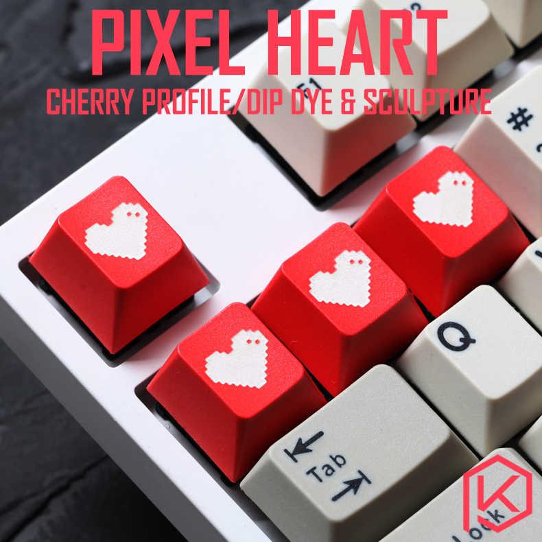 الجدة الكرز الشخصي dip صبغ والنحت pbt keycap للوحة المفاتيح الميكانيكية الليزر محفورا أساطير بكسل القلب أسود أحمر أبيض