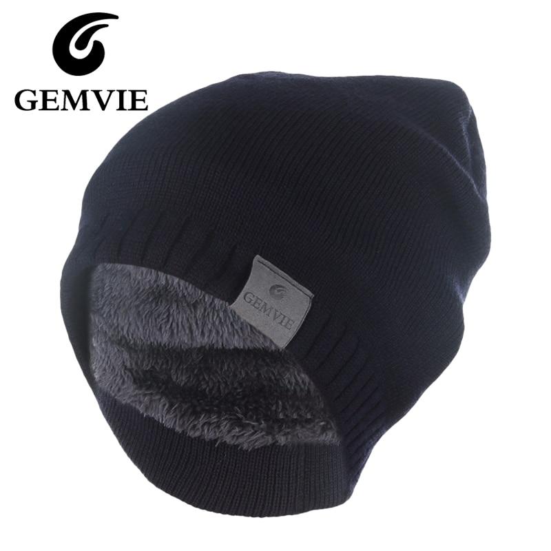 GEMVIE Winter Knitted Hat For Men Women Casual Keep Warm Skullies Beanies  Thicken Velvet Lining Beanie 69a5672068c