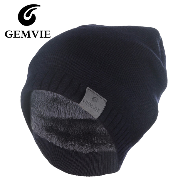 Winter Hat Knitted Mens Winter Cap 2016 Women Casual Solid Thick Warm Plus Velvet Beanie Cap skullies beanies