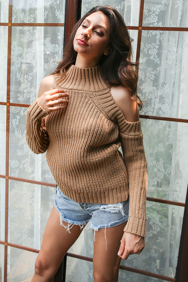 Simplee Turtleneck off shoulder knitted pullovers Sexy tricot cut sleeve sweater women Winter casual oversized jumper 8