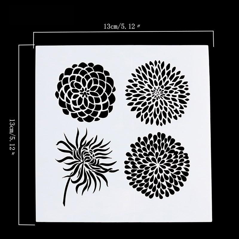 1PC Flower Scrap Walls Stencil Diy Scrapbooking Art Ablum Diary Stamp Crafts Decorative Airbrush Painting Decor Stencils