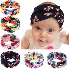 2017 Europe style Beautiful floral print crossing headbands gilrs cotton hair bands kids decrative head wear 6 colors 12pcs/lot