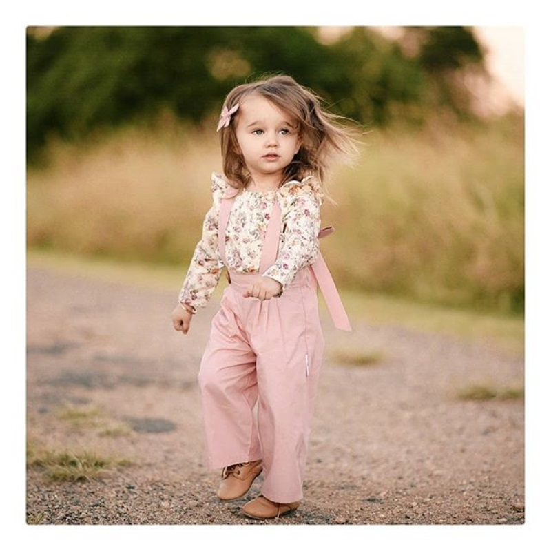 2PCS Toddler Kids Baby Girl Winter Clothes Floral Tops+Pants Overall Outfits sweet girl clothes set 3