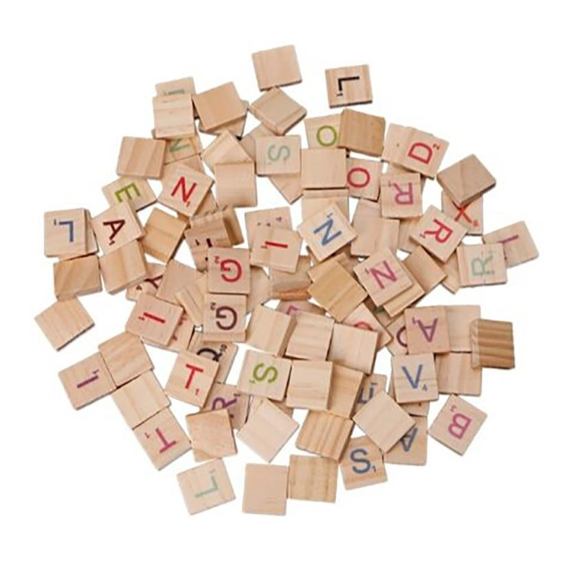 100X Wooden Scrabble Tiles Colorful Letters Numbers For Crafts Wood Alphabet Toy AR Toy Dropship Y1128