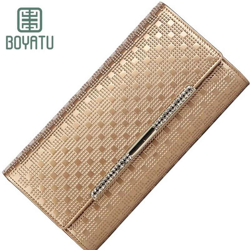 BOYATU Femmes Portefeuilles En Cuir Véritable Portefeuille Bourse Femelle Long Portefeuille Femmes Embrayage Bracelet Cas pour IPhone Or Carte Walet 2018