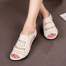 Summer women's sandals Hollow leather Genuine shoes Soft bottom mom shoes Large size elderly shoes size 35-43 zapatos obuv