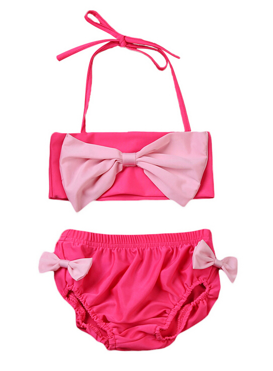 Kids Baby Girls Bowknot Bikini Suit Swimsuit Swimwear Bathing Suit Swimming Costume Kids Summer Bikinis 2-7y