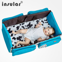 Insular Multi function Folding Portable Diaper Bag Bed Baby Nap Sleeping Moving Bed Bag Mother Baby Bag Baby Travel Infant Cot