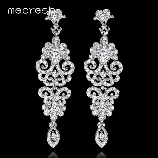 Mecresh корейский Серебряный цвет кристалл свадебные серьги для женщин Мода горный хрусталь свадебные Большие Длинные Серьги Jewelry 2018 EH948