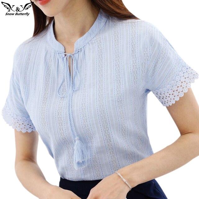 2018 Summer 100 Cotton Shirts Women Blouse Shirts V Neck Short