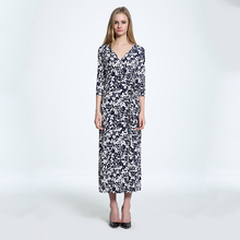 Promotion Rushed Fit And Flare Three Quarter Summer font b Women b font Floral Wrap font