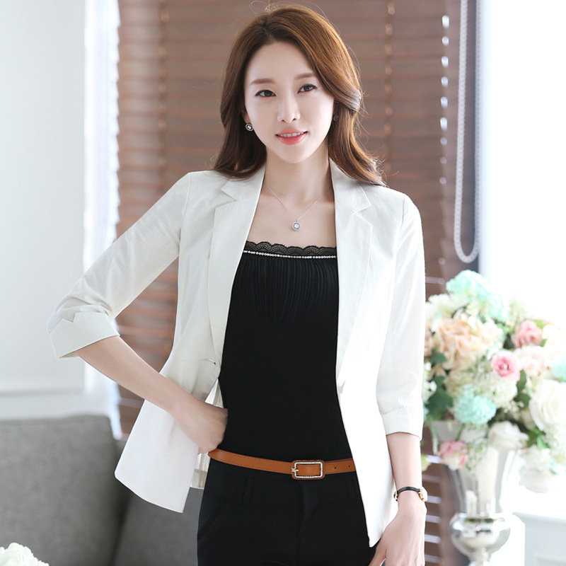 HanOrange 3 Quarter Sleeve Cotton Linen Thin Summer Single Button Slim Women Blazer Jacket Green/Black/White S-3XL Plus Size