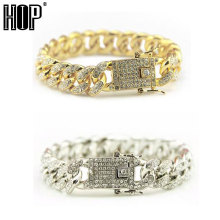 Hip Hop Bling Iced Out Full AAA Crystal Pave Men's Bracelet Gold Silver Color Miami Cuban Link Chain Bracelets for Men Jewelry