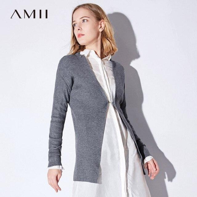 Amii Minimalist Casual Women Cardigan 2017 Solid Single Button ...
