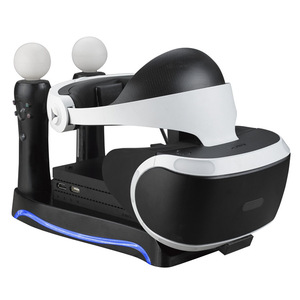 4 in1 PS VR 2nd Generation Vertical Stand PS4 VR Glasses Connector Storage Kit Joystick Charging Station with cooling lights(China)