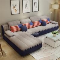 B042 современный простой Гостиная диван-комбинация домашняя мебель, диван комплект L-Форма секционный диван тканевое кресло с откидывающейся...