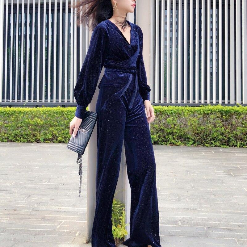 Femmes Sweat costume ensemble 2 pièces pantalons et haut paillettes velours Slim ensembles tissu col en v jambe large pantalon bleu de rue violet éblouissant