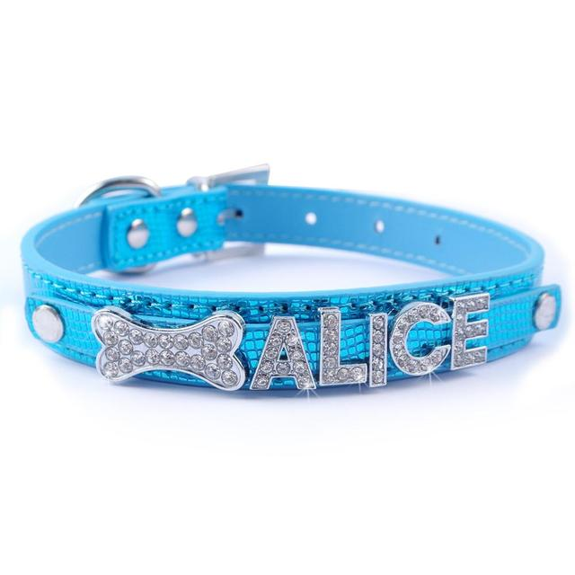 7 Colors Customized Rhinestone Dog Collars Personalized Pet Puppy Collar Free Name and Charm  XS S M L