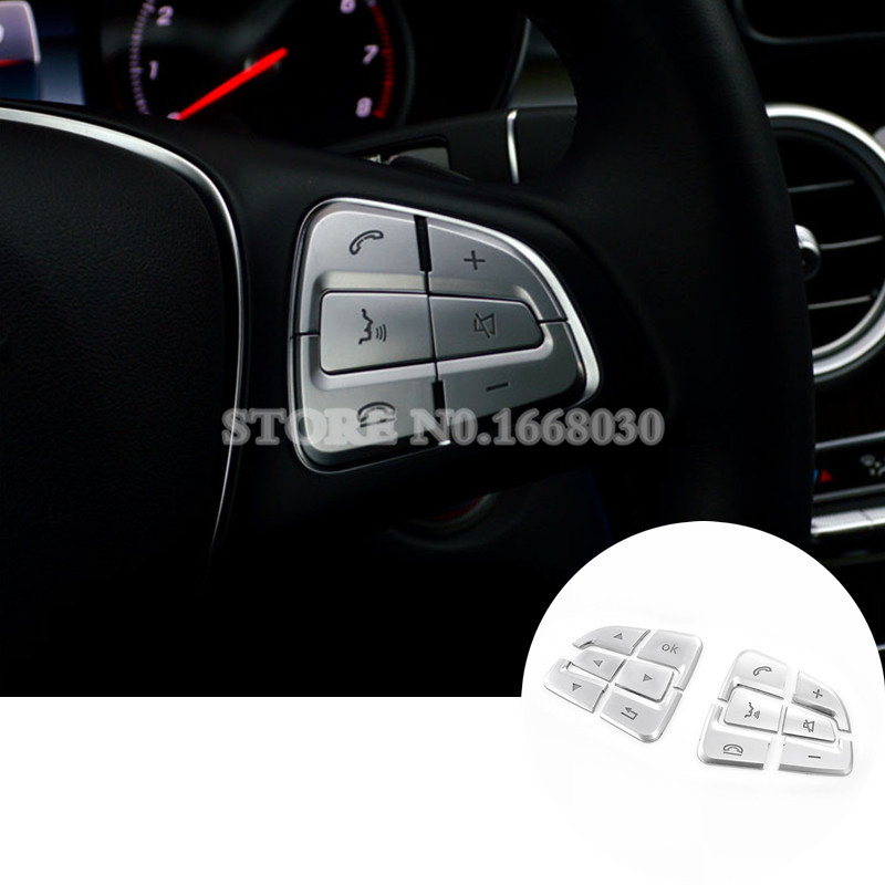 Interior Steering Wheel Button Trim Cover 12pcs For Benz A Class W176 2016 2018