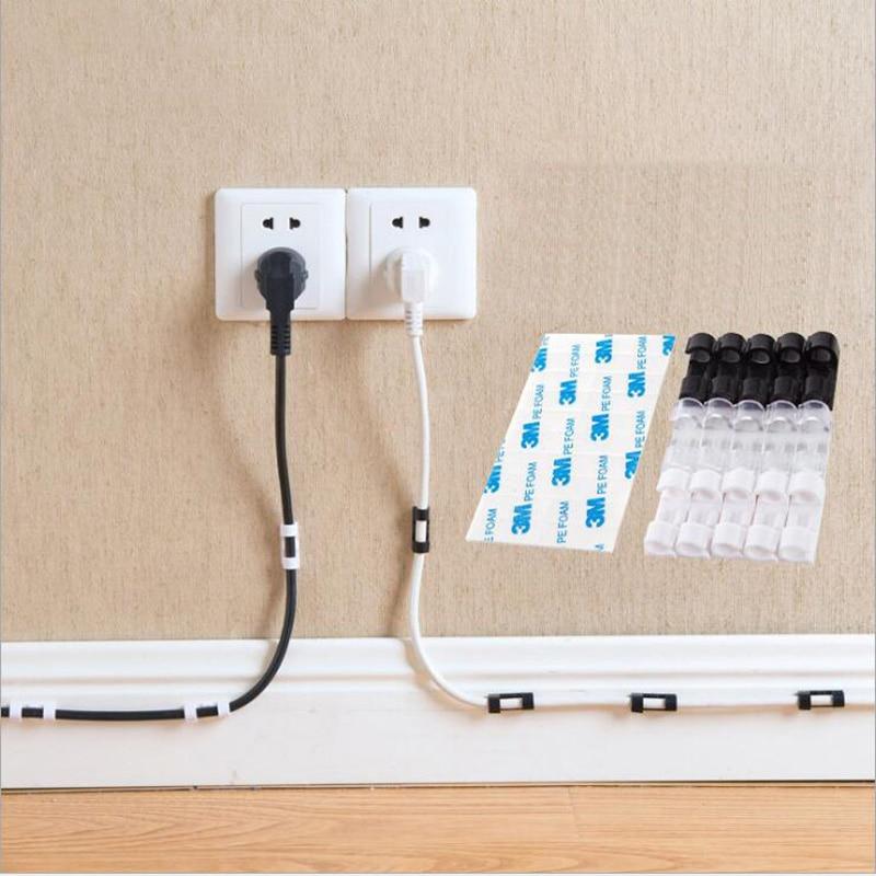 HTB1fW2pfNTpK1RjSZR0q6zEwXXaS Wire Cable Clips Organizer Desktop & Workstation Clips Cord Management Holder USB Charging Data Line Cable Winder